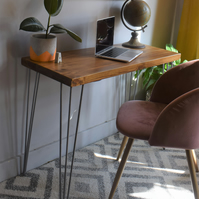 Industrial Wooden hairpin Leg desk Chunky Wood Size Options