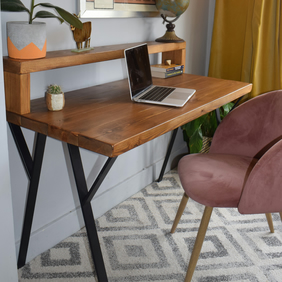 Industrial Wooden Black Steel Leg desk With Shelf Chunky Wood Size Options