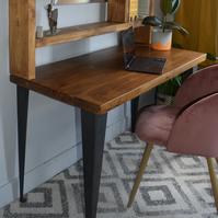 Industrial Wooden raw steel Leg desk With Tall Shelving Chunky Wood Size Options