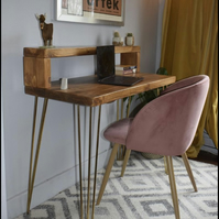 Industrial Wooden hairpin Leg desk With Shelf Chunky Wood Size Options