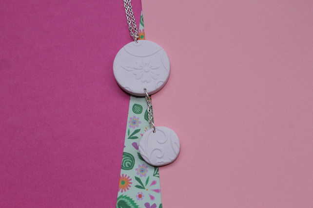 Soft Pink Floral Embossed Necklace with Small Drop