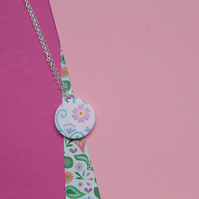 Embossed Floral Hand Painted Necklace