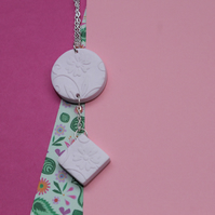 Soft Pink Floral Embossed Necklace with Small Diamond Drop