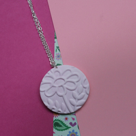 Soft Pink Flower 3D Embossed Necklace