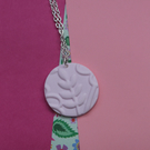 Soft Pink Leaf 3D Embossed Necklace