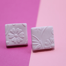 Soft Pink Hand Painted Embossed Square Studs