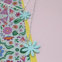 Double Daisy Mint Green Flower Necklace
