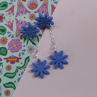 Blue Bright Daisy Flower Earrings with Daisy Drop