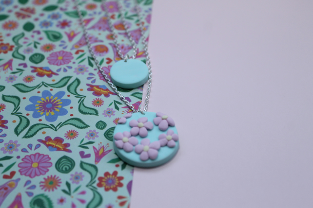 Double Pendant Mint Green Necklace with Delicate Pink Flower