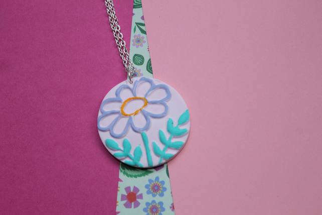 Soft Pink Handpainted Flower 3D Embossed Necklace