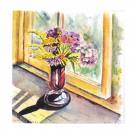 Flowers in a Glass Vase Miniature Still life Watercolour Small Square Painting