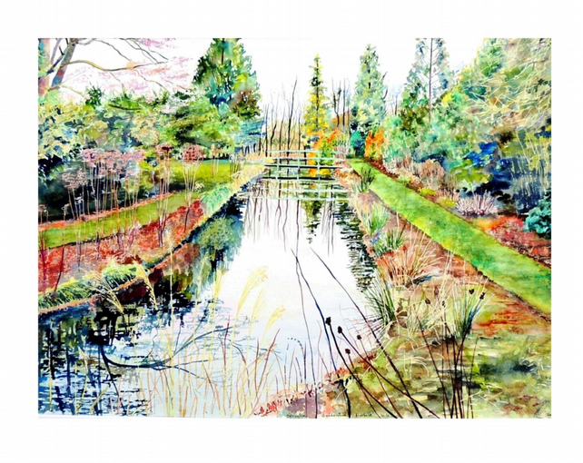 River in Summer Original Landscape Watercolour Painting.Colourful Fine Art Scene
