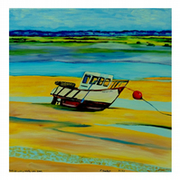 'Waiting for the Tide' Fishing Boat Oil Painting   Harbour Seascape Norfolk