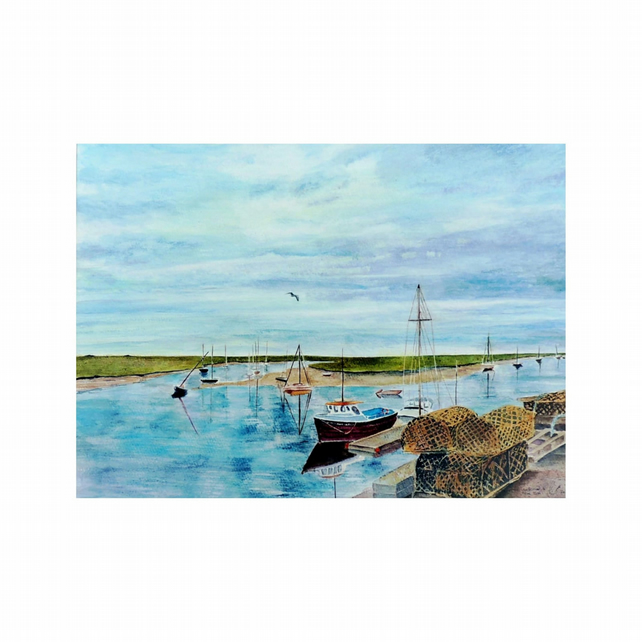 Harbour Fishing Boat Watercolour Painting .Norfolk Coast  Seascape Fine Art