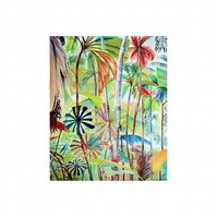 Palm Tree Forest Oil Landscape Painting Tropical Jungle Modern Fine Art