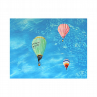 Hot Air Balloons Oil Painting. Balloonist Impressionist Fine Art