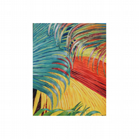 Tropical Jungle Modern Wall Art. Colourful Rainforest Fine Art. Coco de Mer Palm