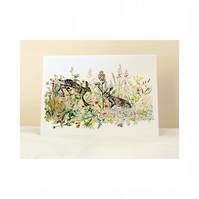 Boxing Hares Botanical Fine Art Blank Greeting Card or Notelet