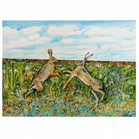 Hares Boxing Botanical Watercolour Painting . Wild Life and Wild Flowers