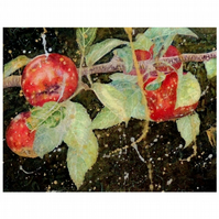 Red Apples Botanical Watercolour Small Fine Art Painting of Fruit