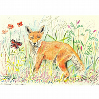 Fox in Flowers Watercolour Wildlife Fox Cub and Butterfly Small Painting