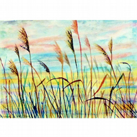 Sunrise Watercolour Landscape. Small Silhouette Painting of Reeds in the Fens