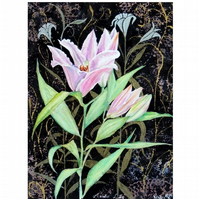 Pink Lilies Botanical Watercolour Painting