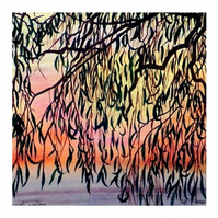 Sunset Watercolour Landscape Silhouette Painting of Willow Tree in the Fens