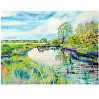 River,Trees and Sky Landscape Oil Painting. Summer in the Country Fine Art