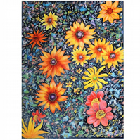 Flower Abstract Oil Painting .Orange and Black Original Artwork. Contemporary Bo
