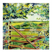 Gate on Bodmin Moor, Cornwall Landscape Watercolour Painting .