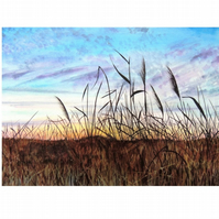Sunrise Watercolour Landscape. Colourful Silhouette Painting of Reeds in the Fen