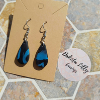 Black and Blue, handmade polymer clay earrings