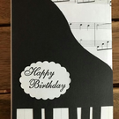 Handmade Piano birthday card UK - Card for music lover - Piano card - Music card