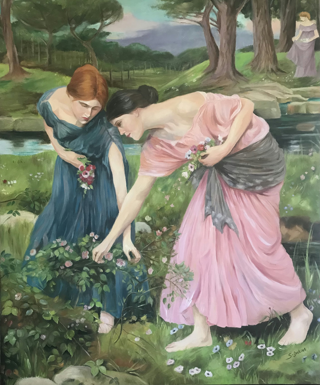 Gathering roses.Oil painting on canvas