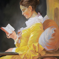 Young Girl Reading.Oil painting on linen canvas