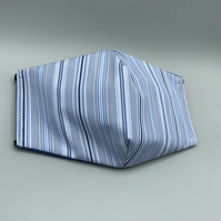 Blue Striped Triple Layer Face Mask. Double Sided. Cotton Fabric.