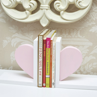 Heavy Hand Made Bookends with white painted Pine wood and half Pink Heart