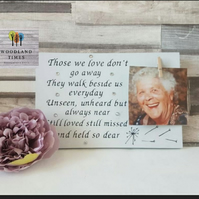 Remember a lost loved one freestanding photo sign, those we love don't go away,