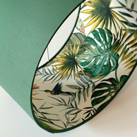 Lampshade, Drum Lampshade in Forest Green with Tropical Themed Lining