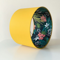 Lampshade, Drum Lampshade in Mustard Yellow with Floral Tropical Themed Lining.