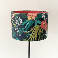 Lampshade, Drum Lampshade in Tropical Floral Fabric with  Pink Lining.