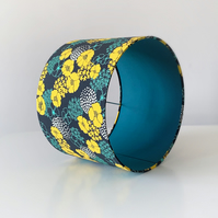 Drum Lampshade in Mustard, Blue and White Poppy Fabric with Teal Lining