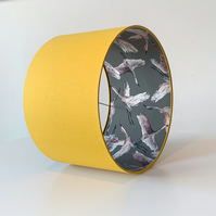 Lampshade, Drum Lampshade in Mustard Yellow with Geese Flock Taupe Lining