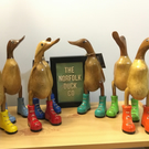 Wooden Duck, Small, Laced Boots, Duck In Wellies, Coloured Boots, decorative