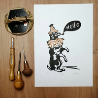 Circus Dog Says Hello limited edition signed print A4