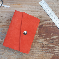 Handmade Leather Journal - Small Size 4 x 3 - Hand-Stitched - Orange