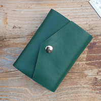 Handmade Leather Journal - Small Size 4 x 3 - Hand-Stitched - Green