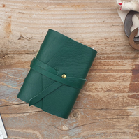Handmade Leather Journal - Tiny Size 3 x 2 - Hand-Stitched - Green