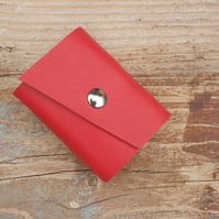 Handmade Leather Journal - Tiny Size 3 x 2 - Hand-Stitched - Red